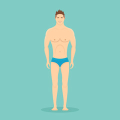 Full length man in swimming trunks isolated on background. Front view. Flat style vector illustration.