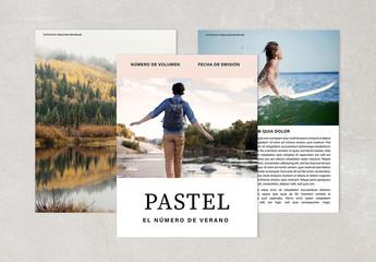Diseño de revista en tonos pastel