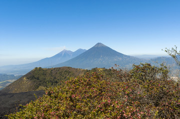 Panoramic view from volcano Pacaya to volcanic landscape in Guatemala