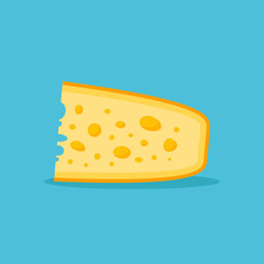 Piece of cheese isolated on blue background. Flat style icon. Vector illustration.