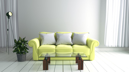 White room interior with Yellow sofa ,lamp and plants on empty white wall background. 3D rendering
