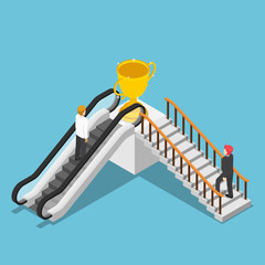 Isometric businessman use different way to success by escalator and stair.