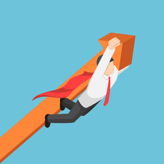 Isometric super businessman carrying business graph up to the sky.