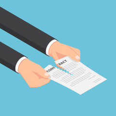 Isometric businessman hands tearing up a contract or agreement document.