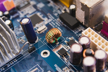 Close up electronic hardware technology on motherboard digital chip