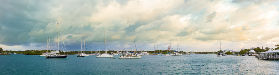 Panorama of the harbor in Hopetown, Bahamas.