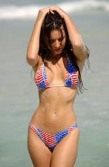 Sexy AthleticGirl in Red White and Blue Bikini