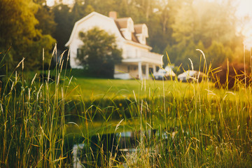 rural view, blurred background. pond and house in the distance at sunset Wall mural