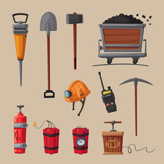 Set of mining tools. Worker's inventory. Cartoon vector illustration