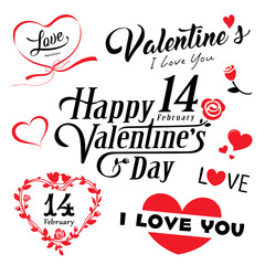 happy valentines day message and red heart collections, vector illustration