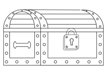 Vector illustration of a locked chest on white background, contour, outline.