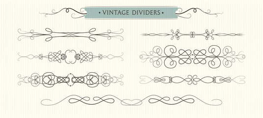 Vector hand drawn flourishes, dividers,  graphic High quality design elements set. Cute vintage borders. Wedding invitaion cards, page decoration. calligraphy swirls, swashes, ornate motifs & scrolls.