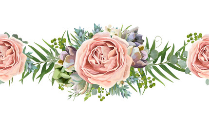 Vector floral seamless pattern bouquet design: garden pink peach lavender Rose wax flower, Eucalyptus branch green fern palm leaves succulent berry illustration Watercolor designer cute border divider