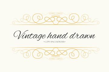 Vector hand drawn flourishes, text divider, graphic design element. Designer vintage golden line border frame. Wedding invitation visit card, page decoration. Calligraphy elegant swirls, ornate motifs