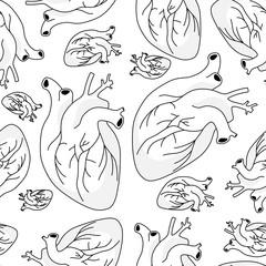 Graphic internal organs of heart. Seamless pattern