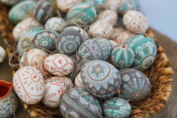 Colorful Easter eggs sold on Easter fair in Vilnius