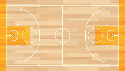Realistic Vector Basketball Court. Basketball court on top.