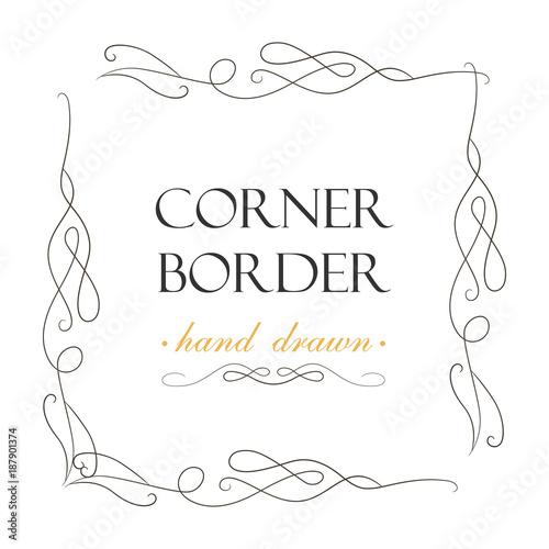 Vector Hand Drawn Flourish Text Divider Graphic Design Element Designer Vintage Corner Border Set