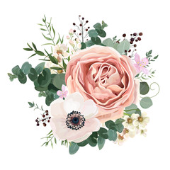 Floral card vector Design: garden flower lavender pink peach Rose white Anemone wax green Eucalyptus thyme leaves elegant greenery, berry, forest bouquet print.Wedding rustic Invitation elegant invite