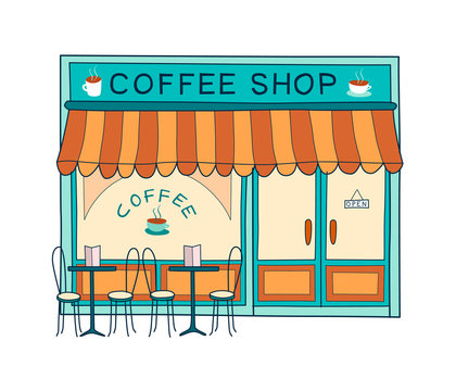 Coffee shop front vector illustration on hand drawn style. Colorful doodle of the front of cafe and restaurant