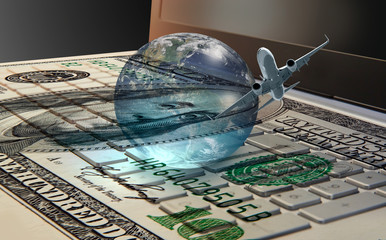"""Money cash banknote on laptop keyboard, digital money and e-commerce concept """"Elements of this image furnished by NASA """""""