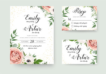 Wedding vector floral invite invitation thank you, rsvp card wat