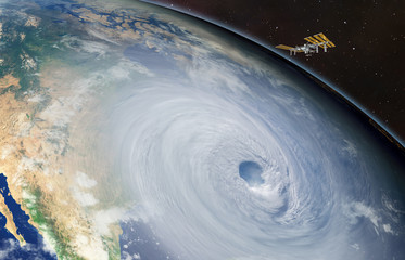 "Giant hurricane seen from the space"" Elements of this image furnished by NASA"""