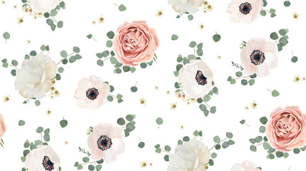 Seamless pattern Vector floral watercolor design: garden rose peony, powder white pink Anemone flower silver Eucalyptus branch green thyme wax flowers greenery leaves. Rustic romantic background print