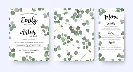 Wedding invite invitation menu  card vector floral greenery design: forest Eucalyptus branches & green leaves foliage greenery frame pattern. Postcard, poster label. Watercolor elegant hand drawn set