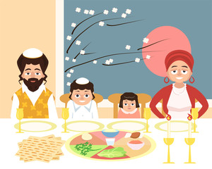 jewish family at feast of passover vector illustration