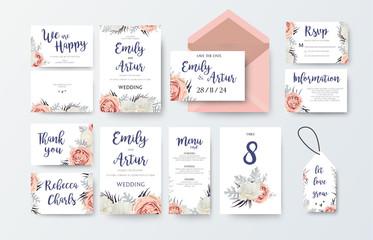 Wedding invite, invitation menu, thank you, rsvp, label card vector floral design with pink peach garden Rose, white peony flower, agonis dusty miller miller leaves pattern. Watercolor elegant big set