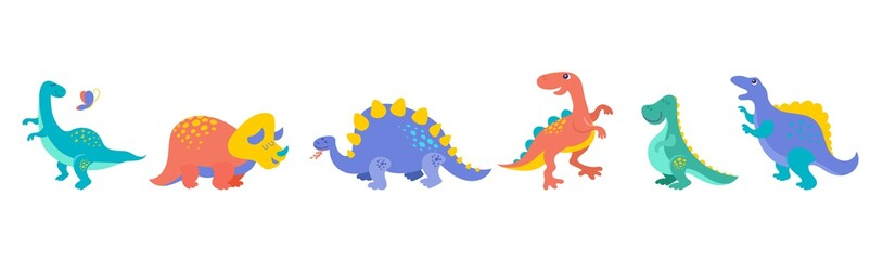 Dinosaurs collection and banner, cute illustrations of prehistoric animals