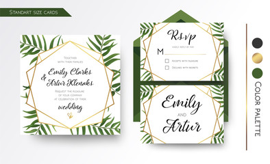 Wedding Invitation, save the date, rsvp invite card Design with green tropical forest palm tree leaves, forest greenery, geometric golden border print. Vector floral template set