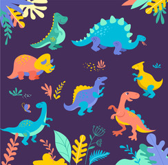 Poster Submarine Dinosaurs collection, cute illustrations of prehistoric animals