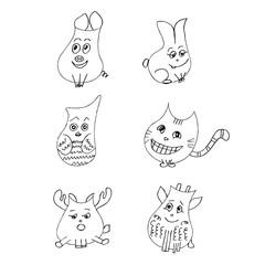 Funny pet set. Liner  illustration on white