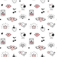 Valentines day background and seamless pattern