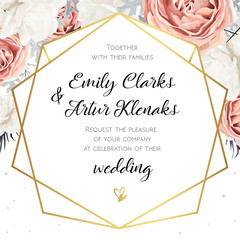 Vector floral wedding invitation invite card design with Flower Bouquet of Peach, white Rose Peony, dusty miller leaves & golden geometric line frame. Elegant, tender cute template. Copy space