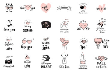 Love doodles, hand drawn illustrations and quotes collection