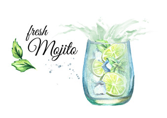 Glass of Mojito with splash. Watercolor hand drawn illustration