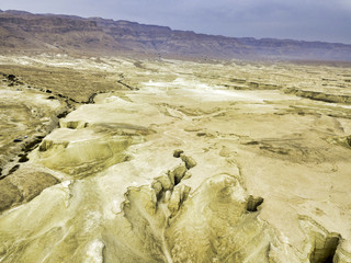 View of Dead Sea area from drone, Israel