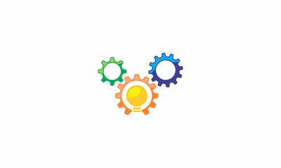 gear, bulb, idea, interesting idea, smart, knowledge, emblem symbol icon vector logo