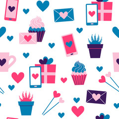 Seamless pattern of valentine day icons collection on white background. Set of flat illustrations with heart, gift, cupcake, flower, envelope. Modern colors vector design.