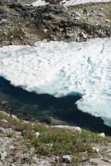 Frozen glacier on rock