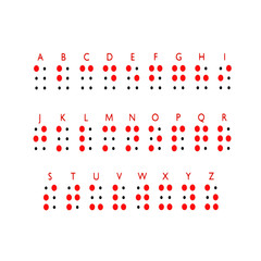 Braille alphabet letters. Braille is a tactile writing system used by people who are blind