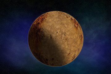 Planet moon texture sphere with shadow isolated on a celestial star background