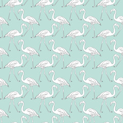 Hand drawn flamingo black outline sketch. Seamless pattern vector