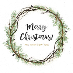 Vector greeting card, invite: Pine tree greenery, brown branches, Green spruce needles & black berry round wreath garland border, frame. Cute watercolor illustration. Merry Christmas text space design