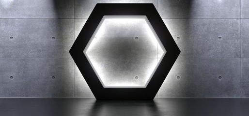3D Rendering Of Abstract Shapes Hexagon Interior With Soft Light And Reflections Background