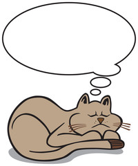 A cartoon cat is sleeping with a thought balloon hovering above him with room for copy