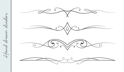 Vector hand drawn curve linear flourish, ornate text divider graphic design element set. Designer art border for Wedding invite card page decoration. Beauty calligraphic swirls, delicate motif pattern